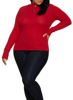 Plus Size Zip Neck Ribbed Knit Top - 3912054261730