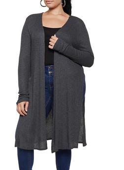 Plus Size Waffle Knit Duster - 3912054261746