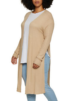 Plus Size Waffle Knit Duster - 3912054261746