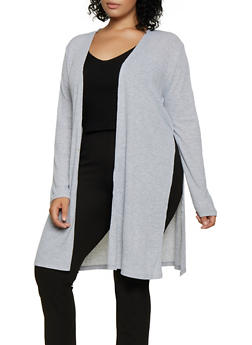Plus Size Side Slit Rib Knit Duster - 3912054268384
