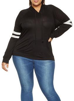 Plus Size Varsity Stripe Hooded Top - 3912054269778