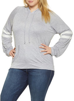 Plus Size Varsity Stripe Hooded Top - 3912054269778