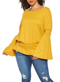 Plus Size Smocked Bell Sleeve Top - 3912058750122