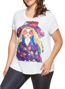 Plus Size Face Graphic Tee - 3912058750731