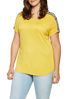 Plus Size Blessed Graphic Tape Trim Tee - 3912058750737