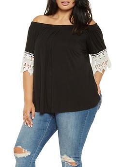 Plus Size Crochet Trim Off the Shoulder Top - 3912058751011