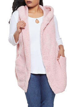 Plus Size Hooded Sherpa Vest - 3912058751106