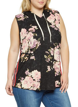 Plus Size Floral Hooded Tank Top - 3912058751114
