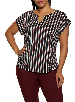 Plus Size Striped Ruched Top - 3912058751130