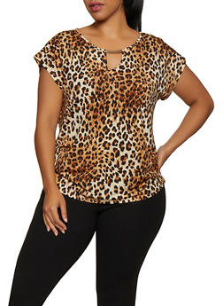 Plus Size Ruched Leopard Print Top - 3912058751131
