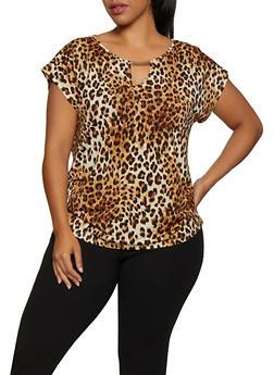 Plus Size Ruched Leopard Print Top - 3912058751131