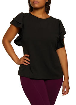 Plus Size Crepe Knit Tiered Sleeve Top - 3912058751136