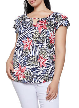 Plus Size Tropical Floral Flutter Sleeve Top - 3912058751140