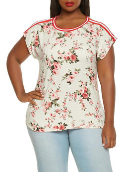 Plus Size Soft Knit Floral Tee - 3912058751214