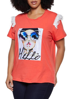 Plus Size Hello Studded Patch Tee - 3912058751374