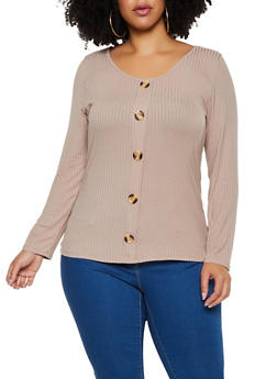 Plus Size Scoop Neck Ribbed Knit Top - 3912058751378
