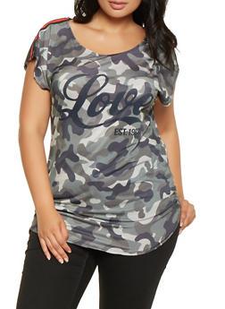 Plus Size Graphic Camo Tunic Tee - 3912058751601