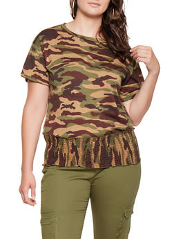 Plus Size Camo Smocked Hem Tee - 3912058752374
