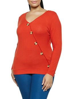 Plus Size Ribbed Button Detail V Neck Top - 3912058752418