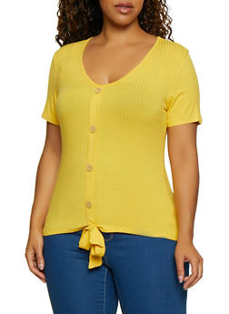 Plus Size Tie Front Ribbed Knit Top - 3912058752766