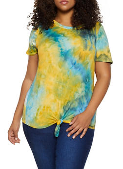 Plus Size Tie Dye Knot Front Tee - 3912058752852