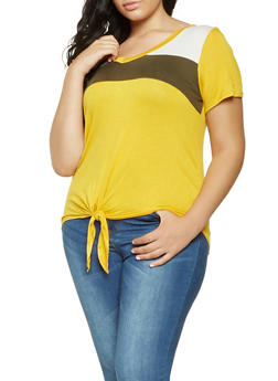 Plus Size Color Block Tie Front Tee - 3912058758426
