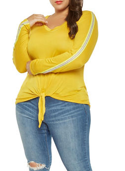 Plus Size Striped Ribbed Knit Tape Top - 3912058758670