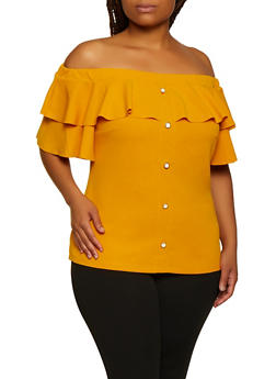 Plus Size Button Front Off the Shoulder Top - 3912058759580