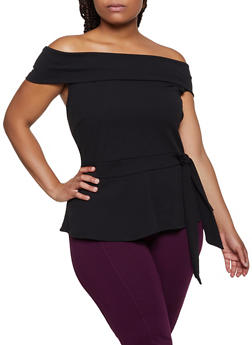 Plus Size Off the Shoulder Crepe Knit Peplum Top - 3912058759870