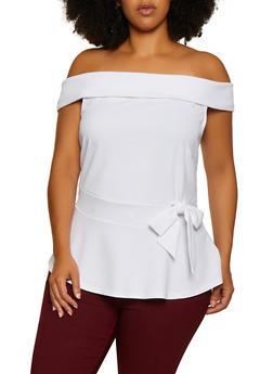 Plus Size Off the Shoulder Crepe Knit Peplum Top - 3912058759870