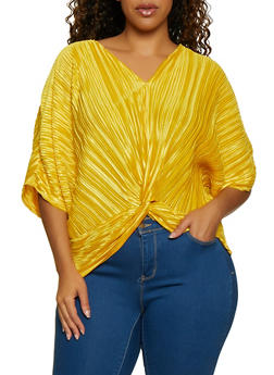 Plus Size Pleated Twist Front Top - 3912062120018