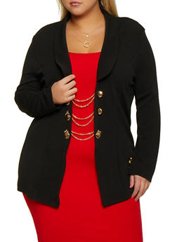 Plus Size Chain Button Blazer - 3912062121121