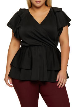 Plus Size Tiered Faux Wrap Peplum Top - 3912062121435