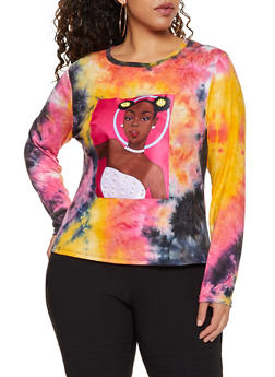 Plus Size Face Patch Tie Dye Tee - 3912062121440