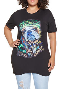 Plus Size Studded Graphic Tunic Tee - 3912062121590