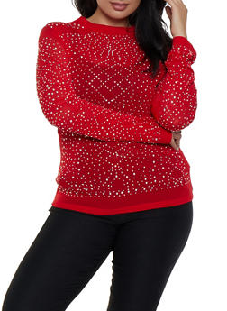 Plus Size Long Sleeve Studded Mesh Top - 3912062121606