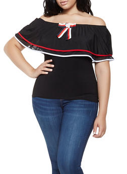 Plus Size Off the Shoulder Mesh Trim Top - 3912062121799