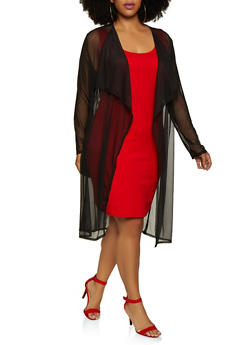 Plus Size Long Sleeve Mesh Duster | 3912062121990 - 3912062121990