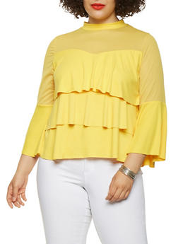 Plus Size Mesh Trim Tiered Ruffle Top - 3912062122025