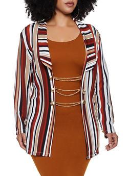Plus Size Striped Chain Button Blazer - 3912062122112