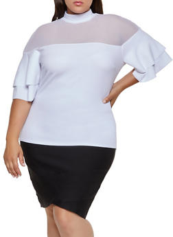 Plus Size Mesh Yoke Tiered Sleeve Top - 3912062122117