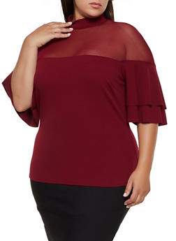 Plus Size Mesh Yoke Tiered Sleeve Top - 3912062122117