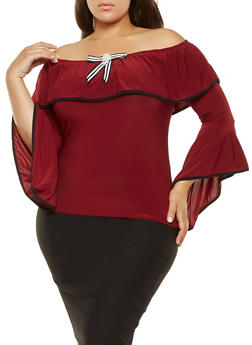 Plus Size Ruffled Off the Shoulder Top - 3912062122269