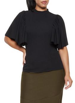Plus Size Flutter Sleeve Crepe Knit Top - 3912062122610