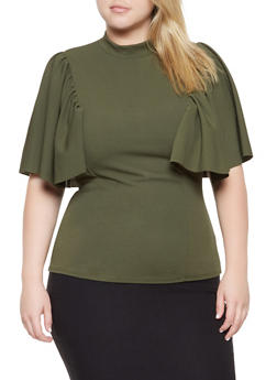 Plus Size Flutter Sleeve Crepe Knit Top - 3912062122610
