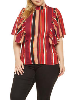 Plus Size Vertical Striped Blouse - 3912062122611