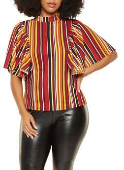 Plus Size Vertical Striped Blouse - 3912062122611