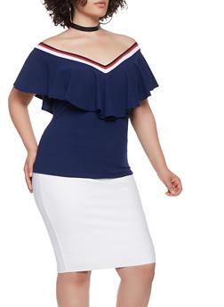 Plus Size Striped Trim Top - 3912062123292