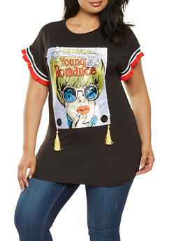 Plus Size Graphic Patch Tunic Tee - 3912062126049