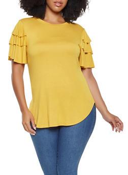 Plus Size Tiered Sleeve Tee - 3912062128600